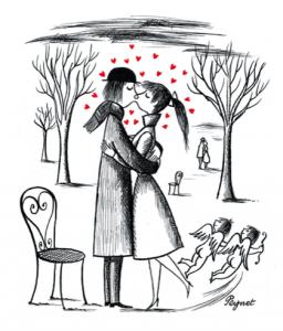 Symbole de la Saint-Valentin à la française: Les amoureux de Peynet