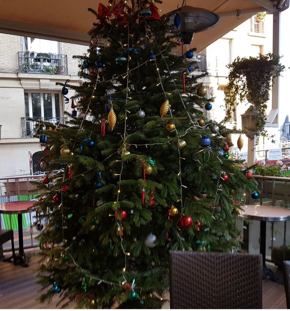 Chrismas tree on terrace Butte Montmartre Paris restaurant Les Ambassades