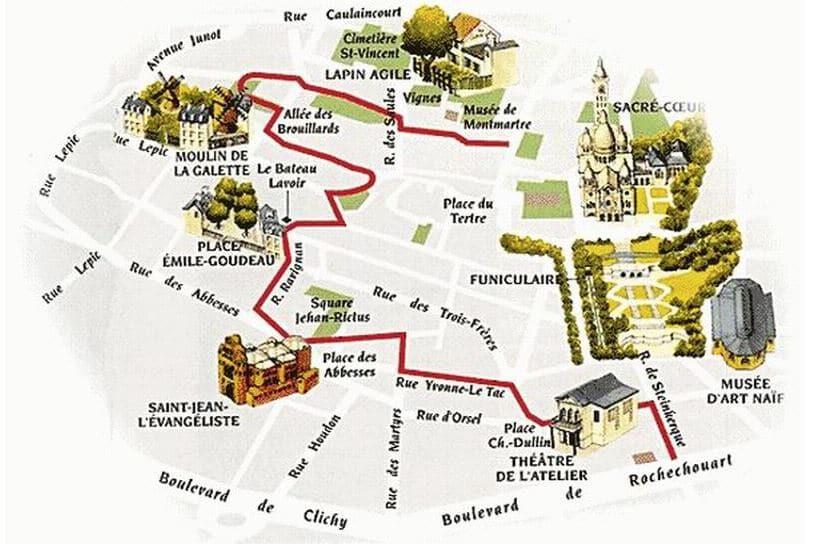 Plan de la Butte Montmartre pour venir au restaurant
