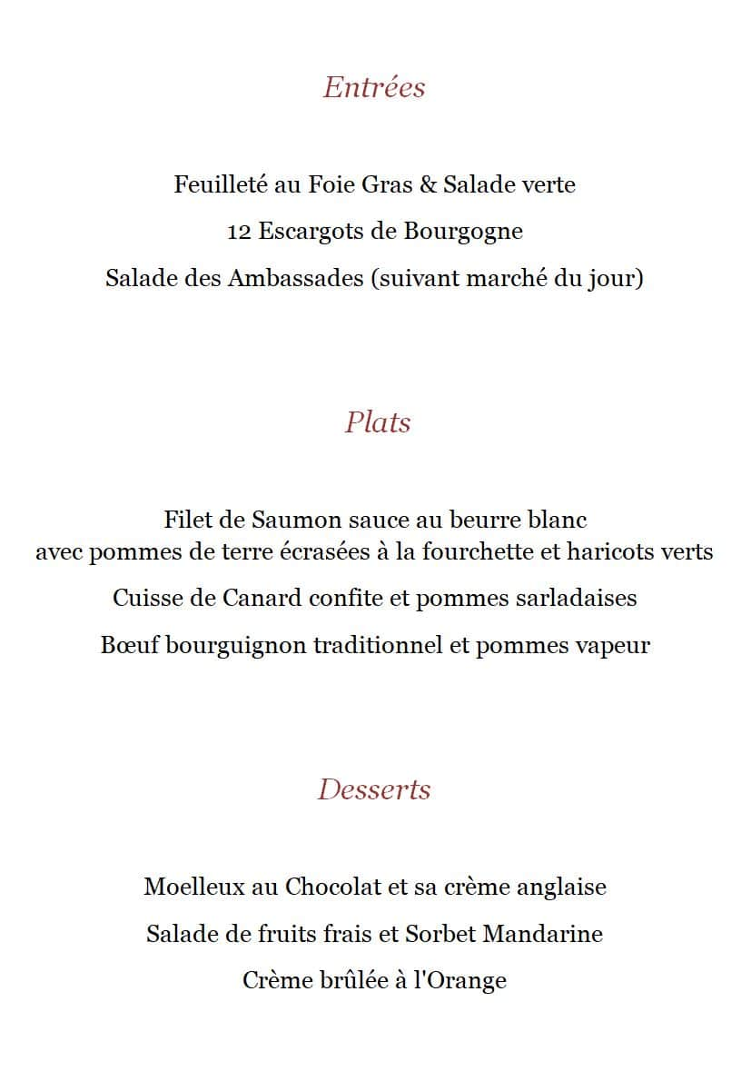 Détail menu Tradition - Restaurant Montmartre Les Ambassades - Paris 18e