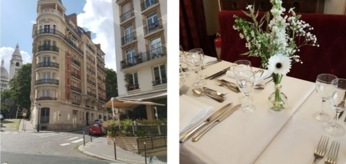 Traditional French restaurant Montmartre Paris : Les Ambassades - Photos view of the Sacré-Coeur and table set with flowers