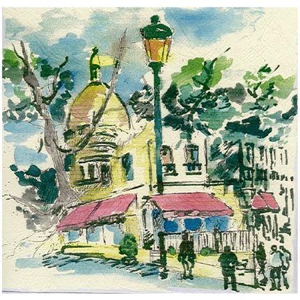 Peinture Sacré-Cœur déco restaurant bar terrasse Paris 18 - Les Ambassades de Montmartre