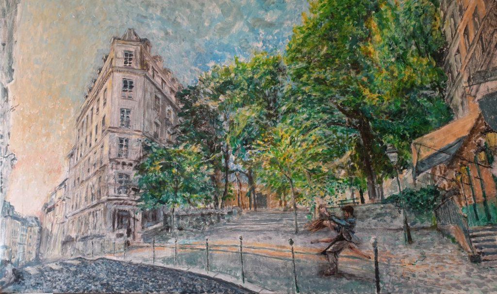 Place Émile-Goudeau d'Alexandre Hassan - Exposition-vente consacrée à des peintures de Montmartre du 25 septembre au 25 novembre 2020 au restaurant Les Ambassades de Montmartre