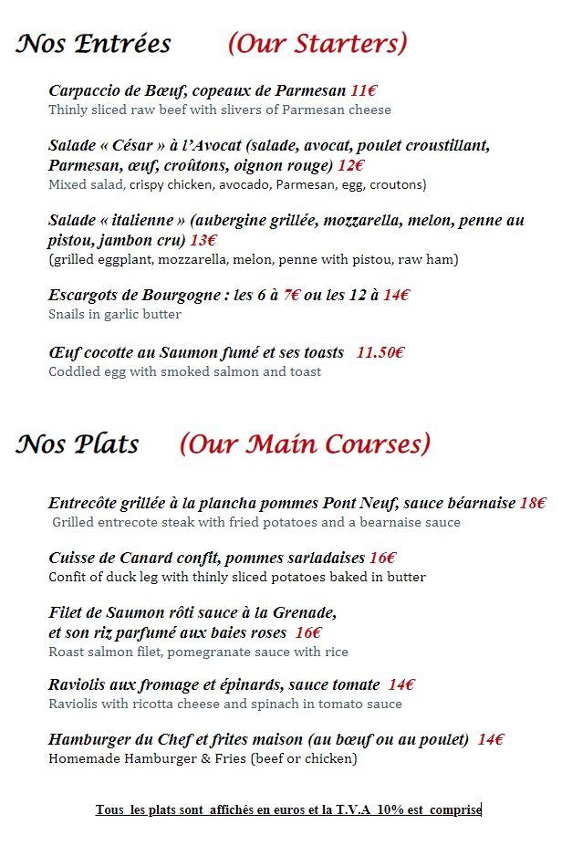 Menu entrées et plats, restaurant bar terrasse Paris Montmartre, Les Ambassades